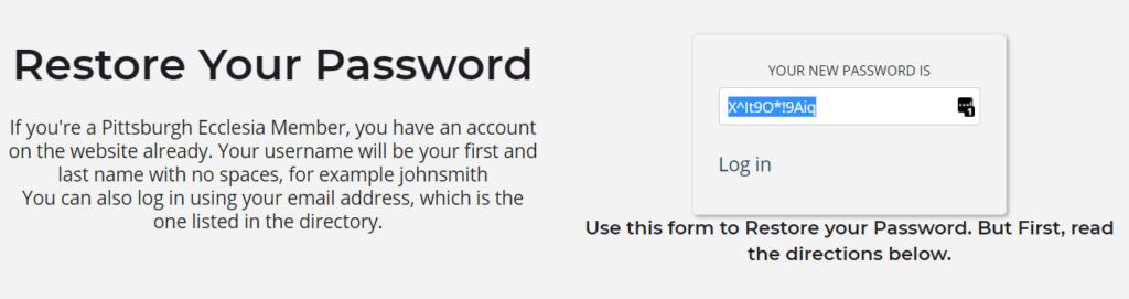 Restore Password Example Image